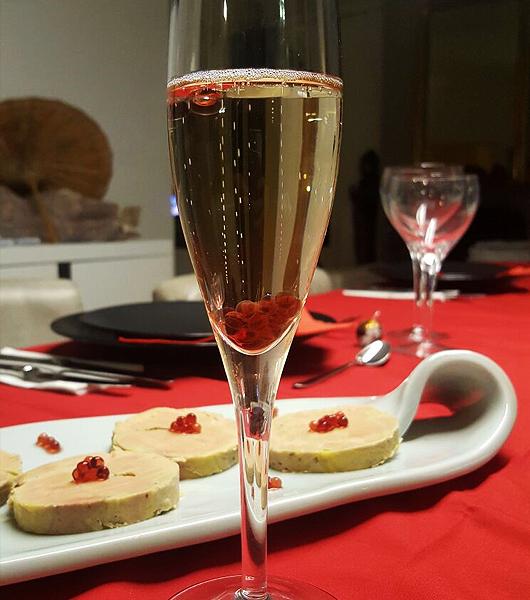 Perles dans du champagne